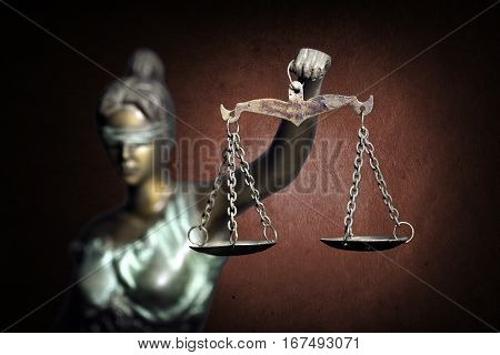 Lady Justice on ruddy background (Concept of justice)