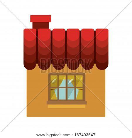 facade confortable room with window vector illustration