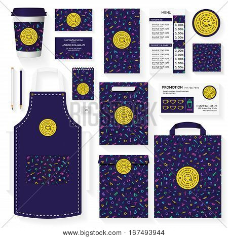 Childrens cafe corporate identity template design set with memphis geometric pattern. Restaurant cafe set card, flier, menu, package, uniform design set. Stock vector