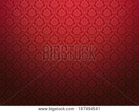 Red damask background with royal floral patterns