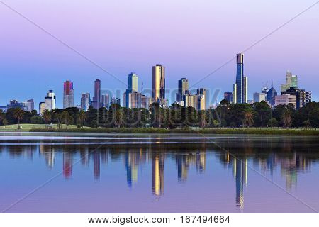Melbourne, Australia.  Skyline viewed from Albert Park Lake at sunrise. Large file.