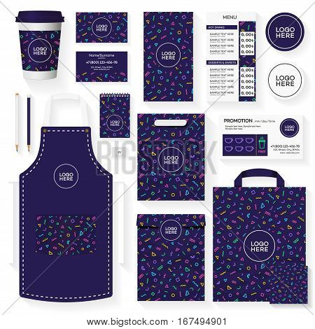 Coffee house corporate identity template design set with color memphis geometric pattern. Restaurant cafe set card, flyer, menu, package, uniform design set. Vector Illustration