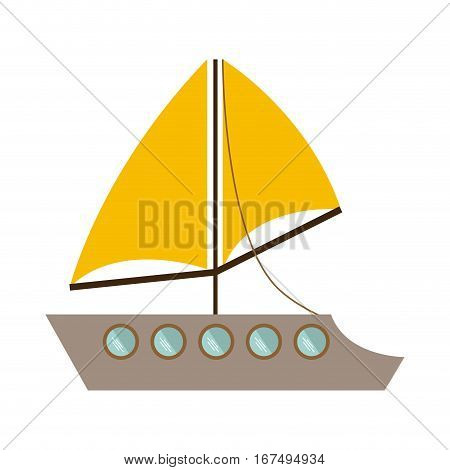 colorful transport yacht icon design vector illustration