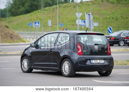 VILNIUS, LITHUANIA - JULY 3, 2016: Volkswagen UP. The Volkswagen Up is a city car, part of the Volkswagen Group New Small Family series of models, unveiled at the 2011 International Motor Show Germany