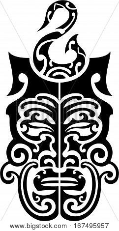 The maori style black mask for tattoo