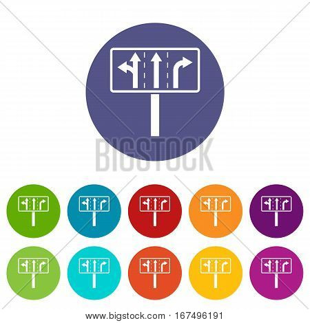 Traffic lanes at crossroads junction set icons in different colors isolated on white background