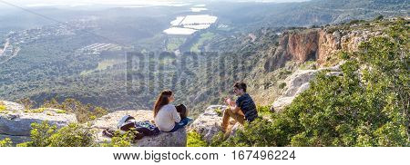 GALILEE ISRAEL - JANUARY 16: Mountain landscape view of the mountainous area of Upper Galilee Israel on January 16 2016