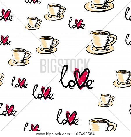 Love tea seamless pattern. Abstract background with tea cup and heart. Vector illustration.