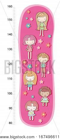Cute girls for meter wall from 30 to 140 centimeter. Vector illustration vector illustration