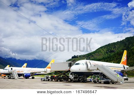 Airplanes At Paro Airport In Thimphu, Bhutan