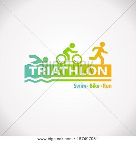 Triathlon swim bike run fitness symbol icon