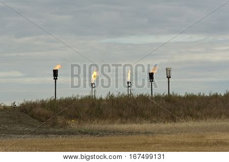 Flaring Natural gas at oil wells in North Dakota
