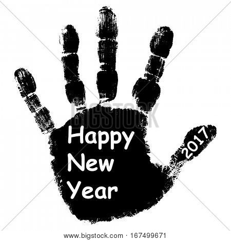 Concept or conceptual black ink hand print or handprint text made by children, Happy New Year 2017 kid greeting isolated on white background