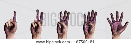 Hands with purple Paint count one, two, three, four and five