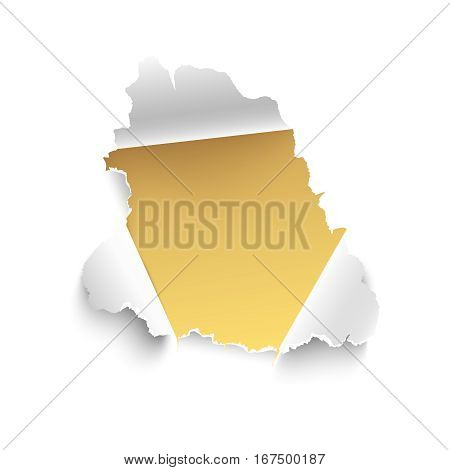 Hole in white paper with gold yellow background. Vector illustration. Banner with space for text. Realistic torn paper vector isolated on white background. Curled sides with ripped edges.