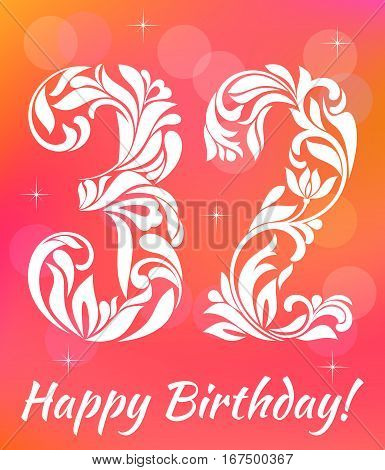 Bright Greeting Card Template. Celebrating 32 Years Birthday. De