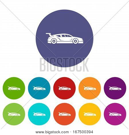 Rally racing car set icons in different colors isolated on white background