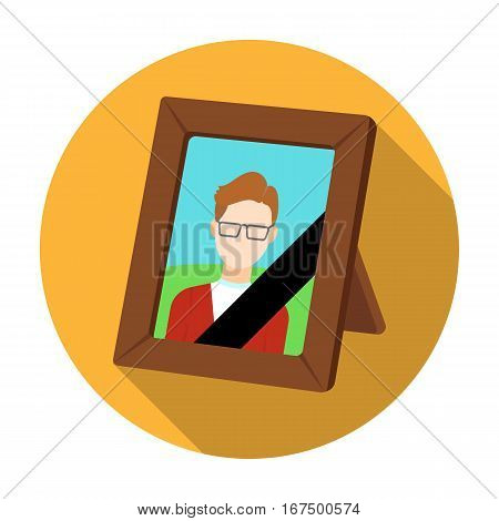Portrait of deceased person icon in flat design isolated on white background. Funeral ceremony symbol stock vector illustration.