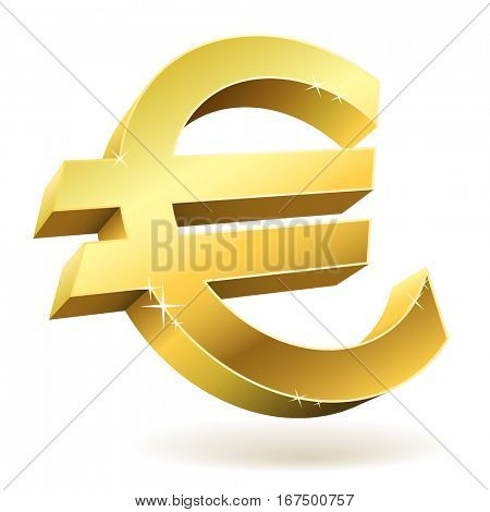 3D golden Euro sign isolated on white illustration. Raster copy.