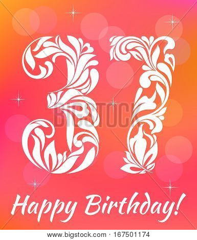 Bright Greeting Card Template. Celebrating 37 Years Birthday. De