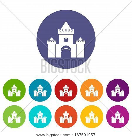 Fairytale castle set icons in different colors isolated on white background