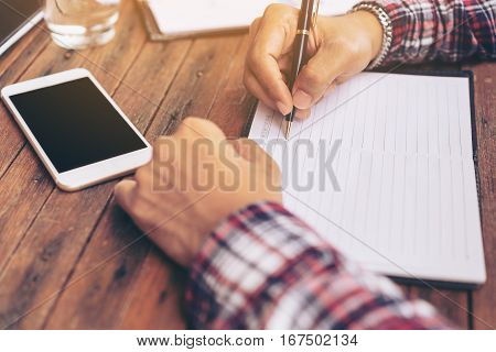 Businessman Or Freelance Working On A Desk