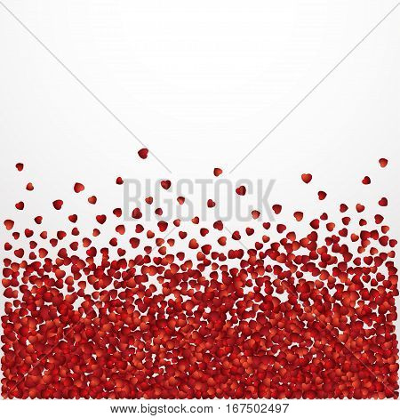 Many paper hearts Valentine template Vector illustration Many red hearts are scattered on white background