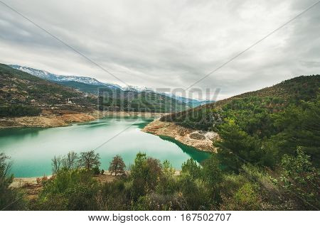 Storage pond on Dim Cay river in the mountain area of Alanya, Antalya province, Turkey