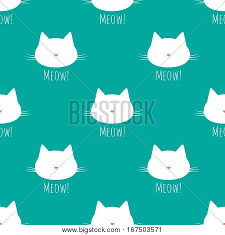 Silhouette of a cat's head with a mustache. Nose in the shape of a heart. Text Meow! Seamless pattern. Blue pink white.