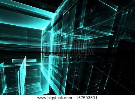 Computer generated abstract tehnology image. Three-dimensional fractal texture