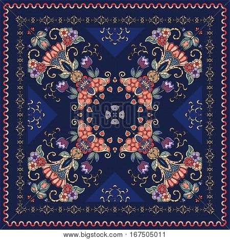 Lovely tablecloth with flowers. Beautiful ethnic vector ornament. Silk neck scarf, bandana print, kerchief design.