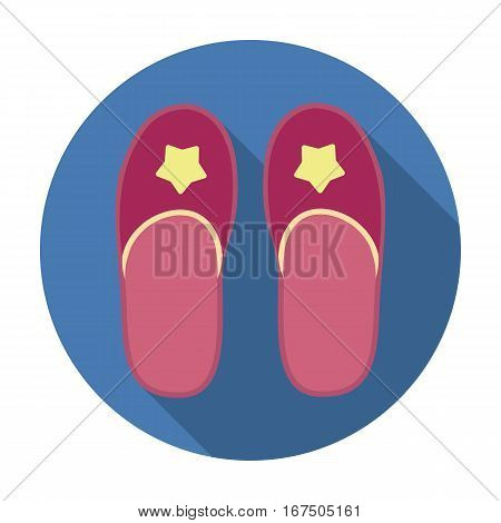 Slippers icon in flat design isolated on white background. Sleep and rest symbol stock vector illustration.