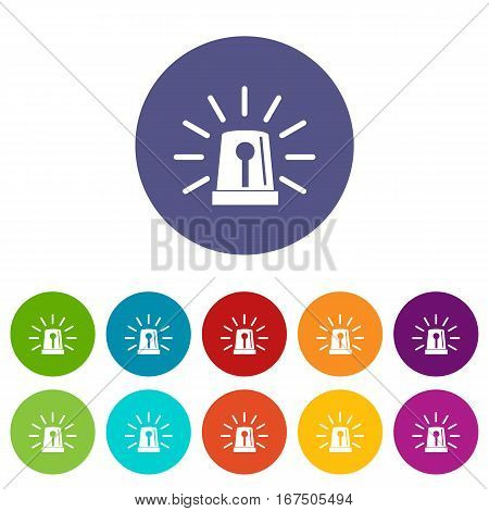 Flashing emergency light set icons in different colors isolated on white background