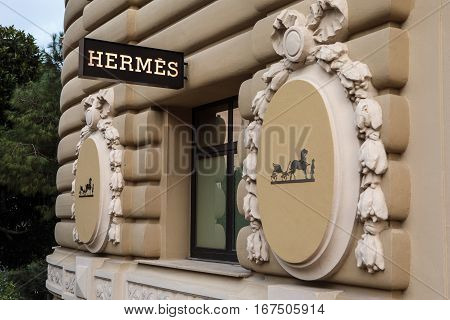 Monte Carlo Monaco - November 4 2016: Hermes shop in Monte Carlo Monaco. Hermes is famous luxury brand existing since 1837.