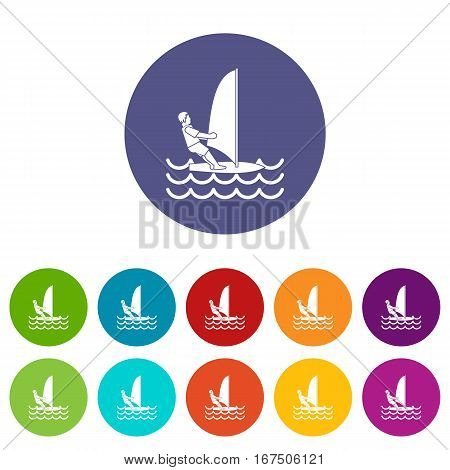 Man on windsurf set icons in different colors isolated on white background