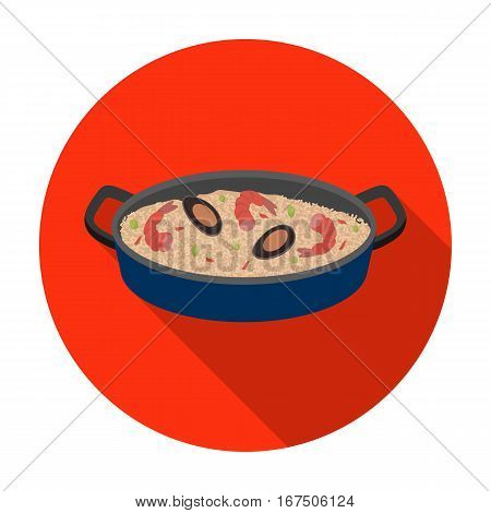 Paella icon in flat design isolated on white background. Spain country symbol stock vector illustration.