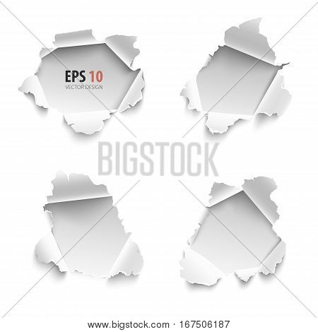 Holes in white paper. Vector illustration. Hole collection of banners for text. Set of realistic torn paper vector isolated on white background. Curled sides with ripped edges.
