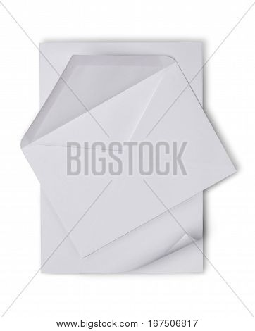 White Envelope With Blank Sheet For Correspondence