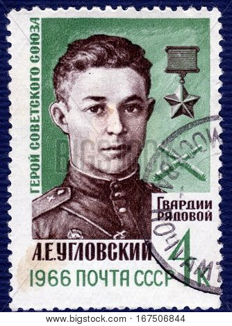 USSR - CIRCA 1966: Postage stamp  printed in USSR shows portrait of A. E. Uglovsky, Hero of the Soviet Union. circa 1966