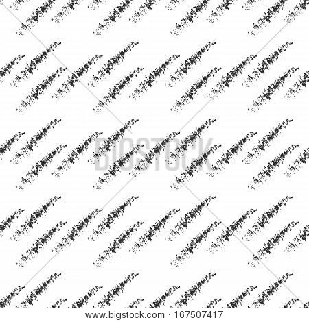 The oblique strokes drawn with a brush. Seamless pattern. Black white.
