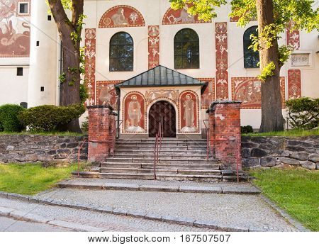 Main entrance with stairs to Catholic Church of St. Cunigunde in Nove Mesto na Morave Czech republic