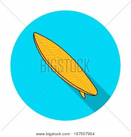 Surfboard icon in flat design isolated on white background. Surfing symbol stock vector illustration.
