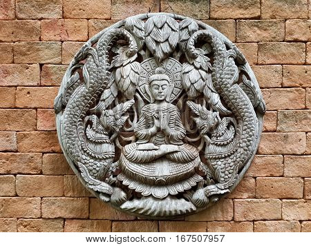 Wood Carving Thailand Antique Buddha. Wall bas-relief