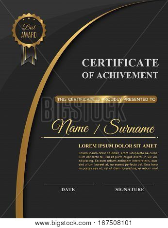 Beautiful golden certificate of achivement template or diploma blank. Vector illustration eps10