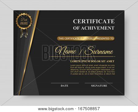 Luxury gold certificate of achivement with golden award. Trendy business template or modern diploma blank. Vector illustration eps10