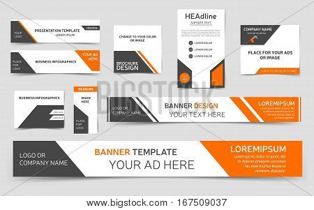 Set of orange web banners. Collection of templates for webpages. Vector eps10