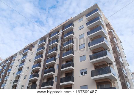 Newly built high quality residential building with glass balcony fences