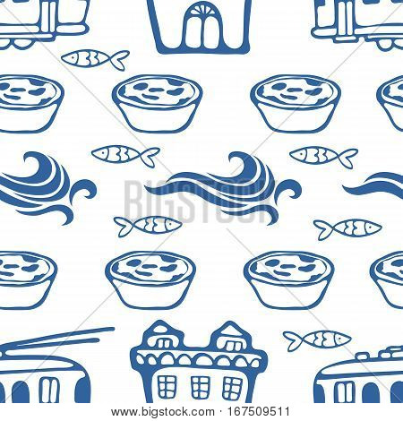 Seamless pattern with cute trams houses waves sardines and pastries. Vector illustration