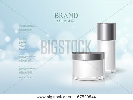 Cosmetic blue bottle package design with moisturizer cream or liquid, skin care product poster, sparkling background vector design.