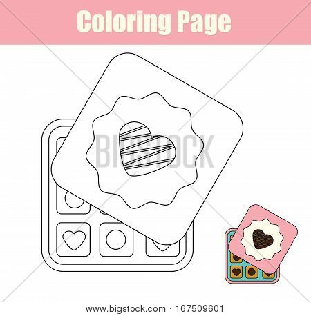 Coloring page with chocolate sweets box. Copy colors coloring book for kids. Printable sheet for children